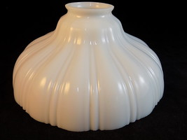 "Vintage MILK GLASS LAMP SHADE 8"" across 3 1/2"" tall 1 1/2"" opening flute... - $32.56"