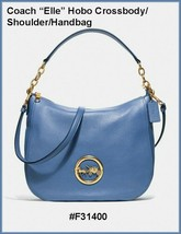 COACH ELLE HOBO DARK PERIWINKLE BLUE LEATHER CROSSBODY/HANDBAG F31400 NW... - $169.00