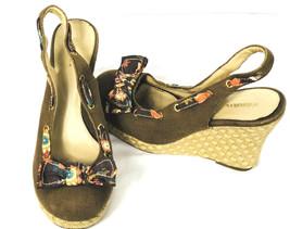 XHILARATION Womens Platform Wedge Sandals Brown Floral Bow High Shoes Sz 9 - $16.82