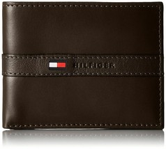 Tommy Hilfiger Men's Leather Credit Card Wallet Billfold Brown 5673-02
