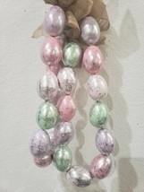 Bunny Boulevard Pastel Silver Foil Egg Garland Burlap Bows DECOR 6' NEW - $28.99