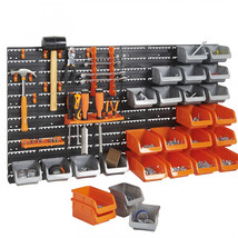 44 pc Garage Tool Storage Organizer Hanging Bins Wall Mount Rack Shelvin... - $80.90