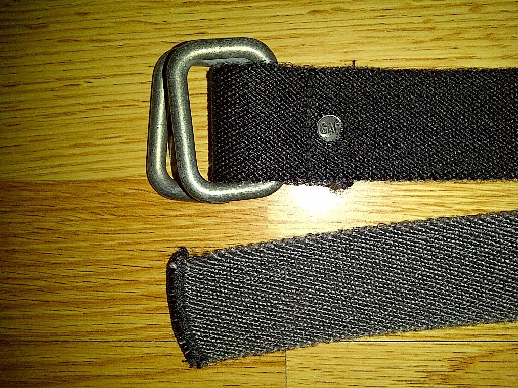 Gap Black Gray Canvas Casual Cotton Polyester Webbed Metal Belt 46 XXL 2xl 2x