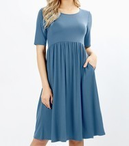 Plus Midi Dress, Blue Fit and Flare Dress, Dress with Pockets, Colbert C... - €32,78 EUR