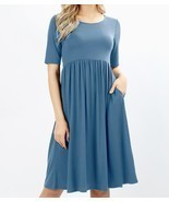 Plus Midi Dress, Blue Fit and Flare Dress, Dress with Pockets, Colbert C... - $47.64 CAD