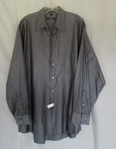 DKNY  men's dress casual shirt 17 34-35 dark gray long sleeves button up - $10.73