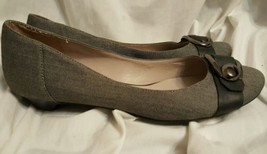 Nine West pumps 10 M low heel Clora pointy toe gray fabric kitten heels ... - €40,83 EUR