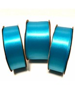 Offray Turquoise Blue Satin Ribbon 3 Rolls 7/8 and 1 1/2 inches Craft Lot - $24.74