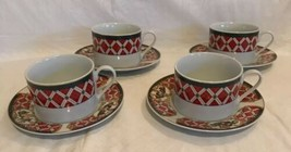 WINDSOR Gibson China Christmas Green Red Checked Rocking Horse Teacups &... - $24.74