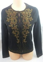 ann taylor womens embellished black front hidden clasp sweater cardigan ... - €18,11 EUR