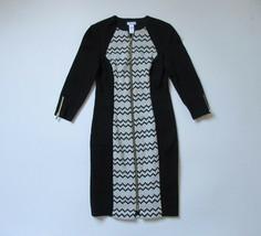 CACHE Zip Front Jacquard Colorblock Chevron ZigZag Stretch Sheath Dress 6 - $31.99
