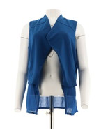 Lisa Rinna Collection Bout Ouvert Différencié Gilet Poches Bleu Roi XS Neuf - $62.18