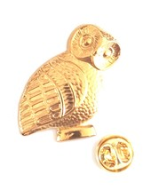 large owl very detailed pin badge, gold Lapel Pin Badge in gift box