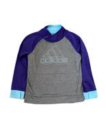 Adidas Girls Logo Fleece Sweatshirt Gray Purple Pullover XL 14-16 Finger... - $10.36