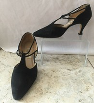 "Nine West Black Suede Shoe Pump EUC Size 7.5  3"" heel Elastic bands perf... - $14.95"