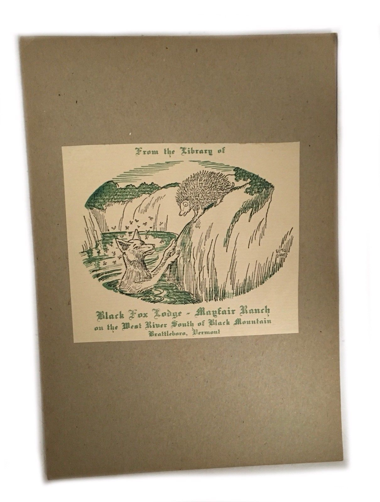 Ex Libris Book Plate Exlibris Black Fox Lodge Mayfair Ranch Brattleboro Vermont