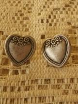 Vintage Pewter Heart With Flowers Earrings - $3.00