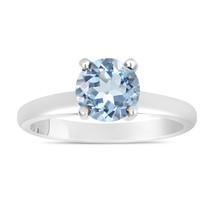 Blue Aquamarine Solitaire Engagement Ring 14K White Gold handmade 1.00 C... - $1,299.00