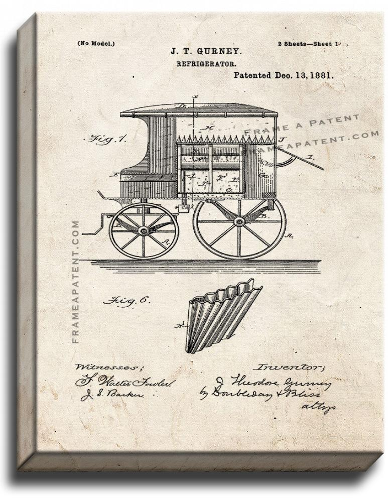 Primary image for Refrigerator Patent Print Old Look on Canvas