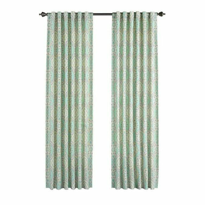 Waverly Home Classics One Panel 50x 84 Teal Curtain Moonlit Medallion Cellestial - $19.79