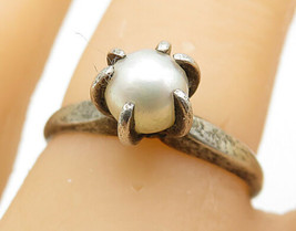 SARAH COVENTRY 925 Sterling Silver - Vintage Pearl Solitaire Ring Sz 7 - R8122 - $25.28