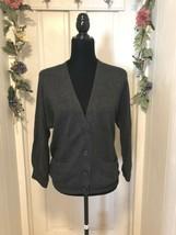 Loft Button Front Cardigan Sweater Knit 3/4 length Sleeves Dark Gray Siz... - $14.45