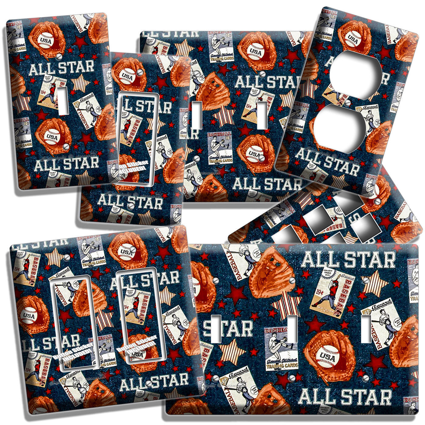 Primary image for BASEBALL VINTAGE ALL STAR LIGHT SWITCH POWER OUTLET WALL PLATE COVER ROOM DECOR