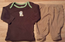 Boy's Size 0-3 M Months Two Piece Brown L/S Carter's Puppy Top & FGlory ... - $14.00