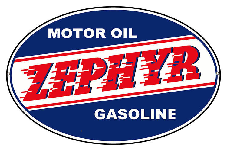 Primary image for Oval Zephyr Gasoline Motor Oil Reproduction Sign 11x18