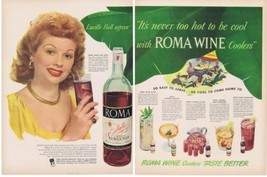 1948 Lucille Ball ROMA Wine California Burgundy & Coolers Print Ad - $18.99