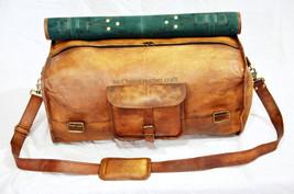 HC Real Leather handmade travel luggage vintage overnight weekend duffel... - $70.15