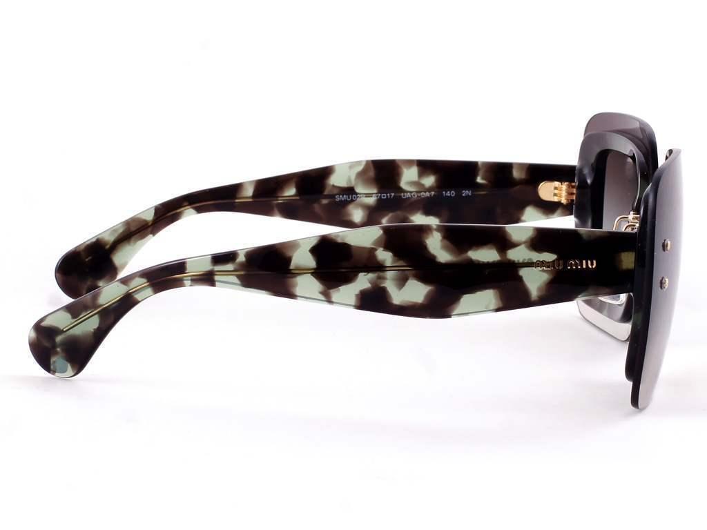 d7b81d46678c5 ... Authentic Miu Miu Sunglasses SMU02R UAG-0A7 Green Havana Frames Grey  Lens 67mm
