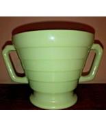 Hazel Atlas Moderntone Platonite Footed Open Sugar Pastel Green, Art Deco - $9.99