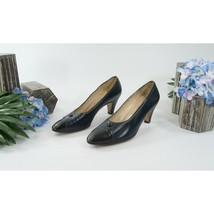 Salvatore Ferragamo Navy Black Leather Two Tone Shoes Heels 8 Narrow - $64.34