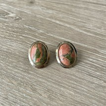 Unakite Jasper Clip On Earrings Vintage Gold Tone Natural Stone - $14.00