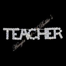 Teacher Word Pin Brooch Clear Austrian Crystal Prong Set Silver Tone Metal - $24.99