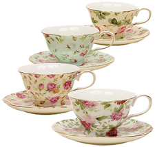 Gracie China by Coastline Imports 33708B Rose Chintz 8-Ounce Porcelain T... - £26.50 GBP