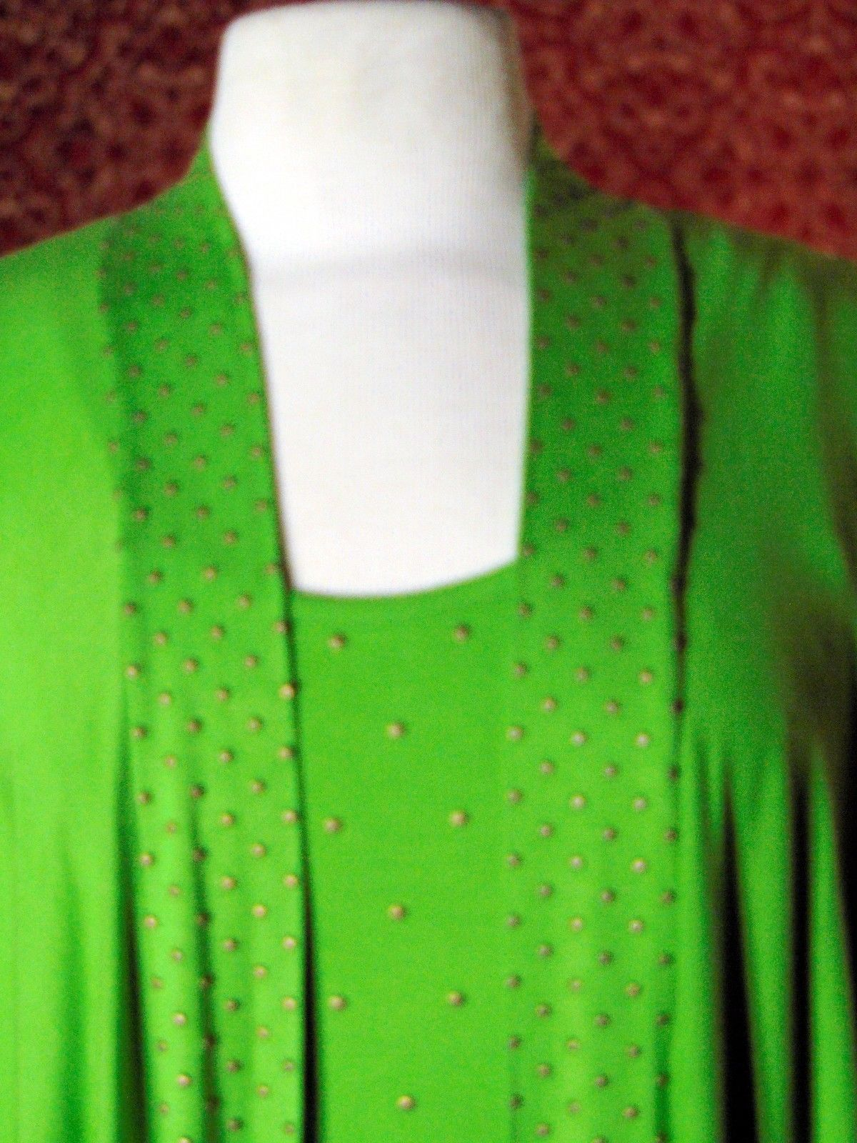 ETOILE green 2 piece stretch rayon tank blouse & sweater jacket M (T47-02I8G) image 2