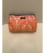 """SCOUT Makeup Cosmetic Travel toiletry Bag 7x10"""" orange pink white zip top  - $10.50"""