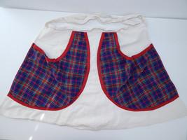 VINTAGE LADIES HANDMADE COOKING APRON KITCHEN, PLAID, RED BLUE, GREEN, G... - $15.88