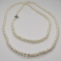 1 metre Long Necklace in 18k White Gold White Pearls freshwater Made in Italy image 4
