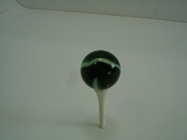 Vintage Marble Unknown Akro? Green White Swirl 1 inch .986 inch Shooter - $17.39