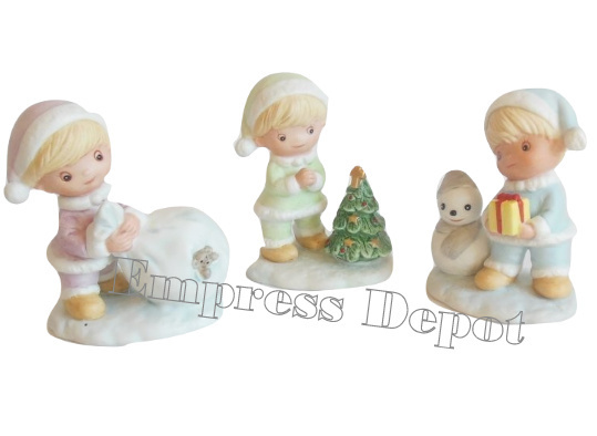Vintage HOMCO Bisque Trio Snow Babies Christmas Figurine Boy Elves Children 5013 - $16.95