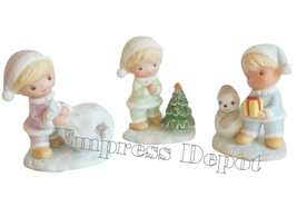 Vintage HOMCO Bisque Trio Set Christmas Figurine Boy Elves Children 5013 - $16.95
