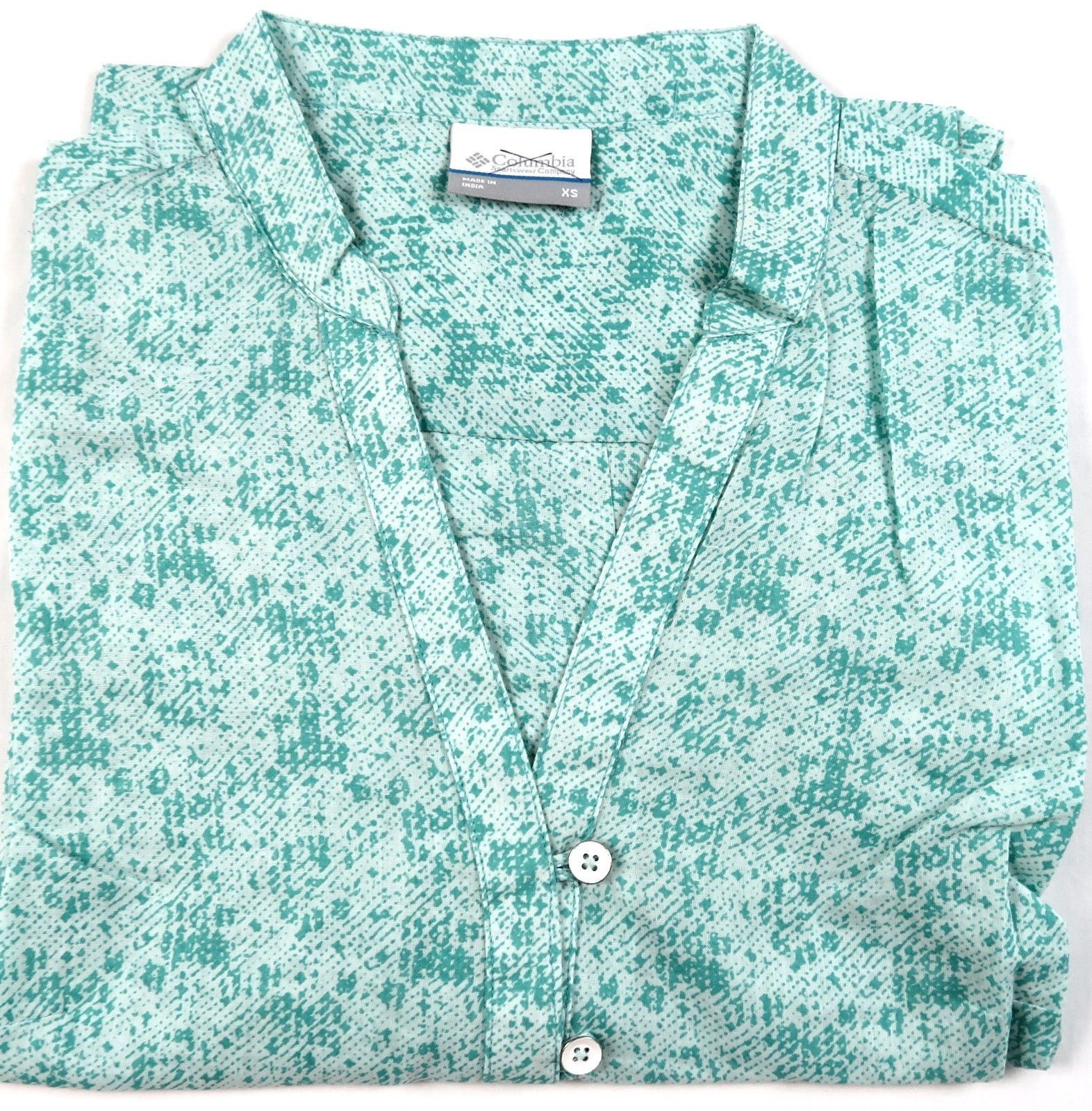 X-Small Columbia Women's Shirt 3/4 Sleeve V-Neck Pullover Blouse Green