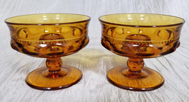 Vtg Colony/Indiana Glass Color Crown (Dark) Amber Candlestick Holders, S... - $18.00