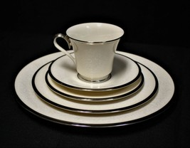 Lenox Moonspun 5-Piece Place Setting Ivory Floral Pattern & Platinum Trim - $45.00
