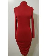 VENUS Ruby Red Ruched Gathered Asymmetrical Hem LS Sexy Dress NWOT XS - $179.99