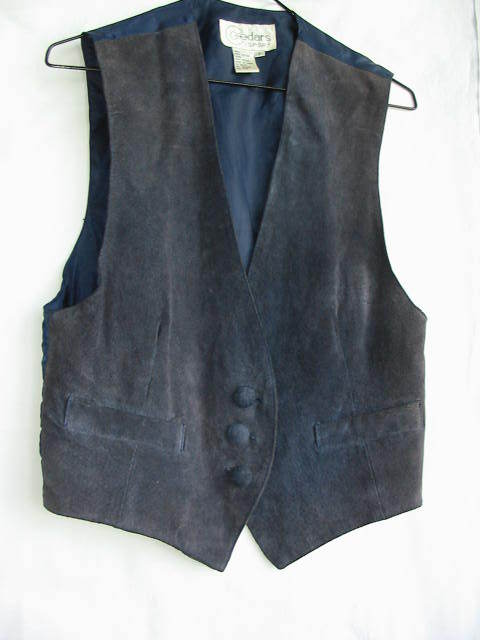 VEST-NAVY SUEDE LEATHER  - SMALL Bonanza