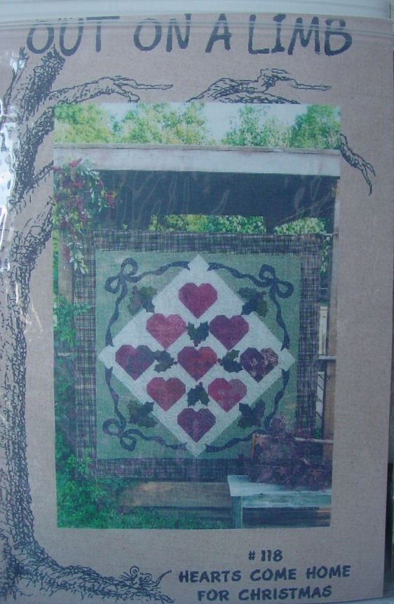 """Quilt Pattern """"Hearts Come Home for Christmas"""" by Out on a Limb 66"""" x 66"""""""